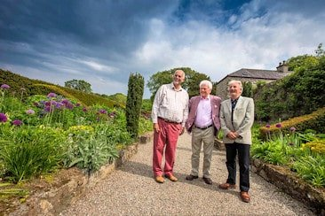 Official launch of Festival of Gardens organised by North Wales Tourism at Plas Cadnant, the Hidden Garden in Menai Bridge. Roy Lancaster, celebrity plantsman, gardener and broadcaster officially launched the Festival, pictured centre with Anthony Taverner, owner of Plas Cadnant and Tony Russell, right, Festival Organiser.
