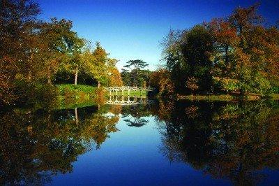 Chinese Bridge reflection in autumn sunshine